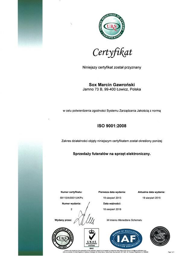 certyfikat dotyczący iso