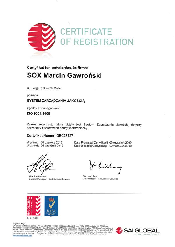 certyfikat dotyczący zarządzania jakością