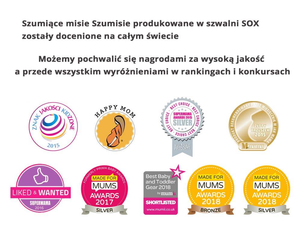 nagrody i certyfikaty dla szumisiów, które są szyte w szwalni sox
